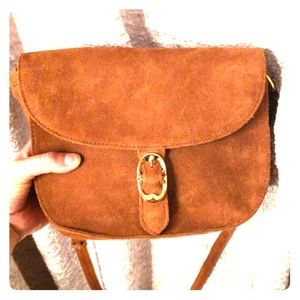 Emm Fox Suede Cognac Purse